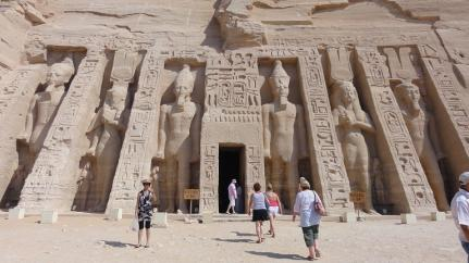 On the tourist trail in Abu Simbel, south of Aswan, Egypt. Is it possible to be