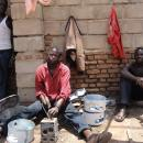 Ugandan Kagera Shraj, middle, and his workers are helping to grow Juba's economy